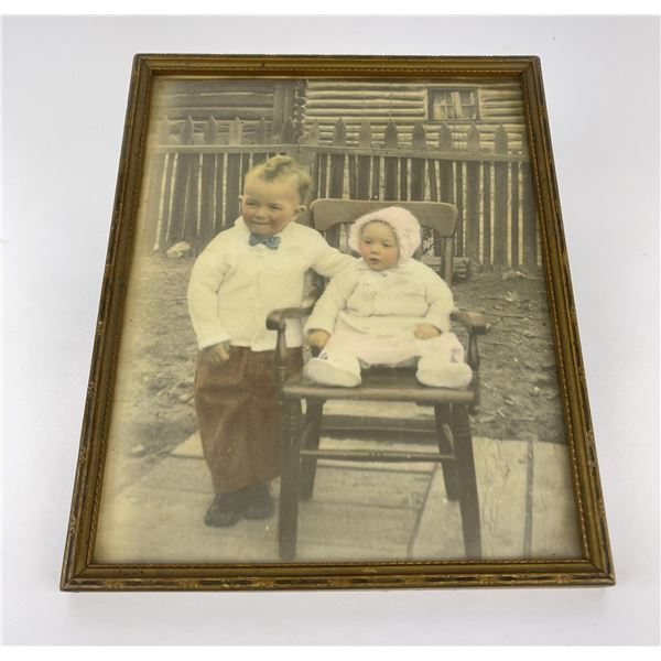 Antique Butte Montana Hand Tinted Photo of Kids
