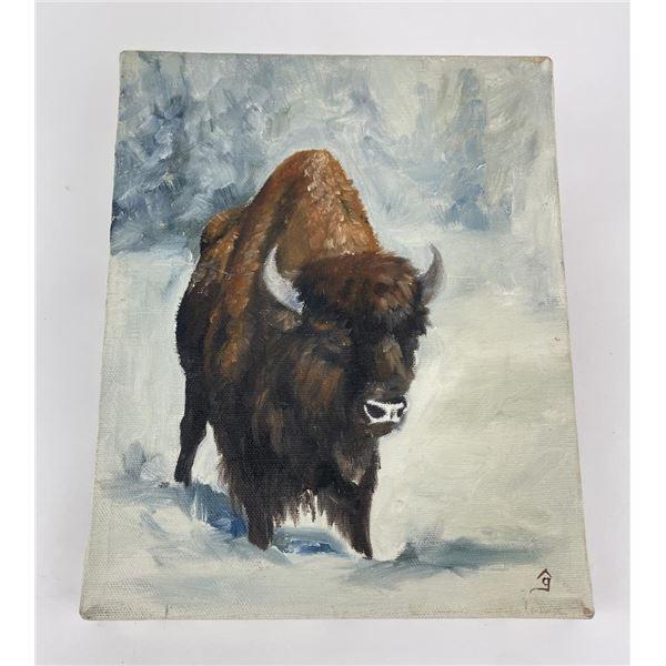 Montana Buffalo Oil on Canvas Painting