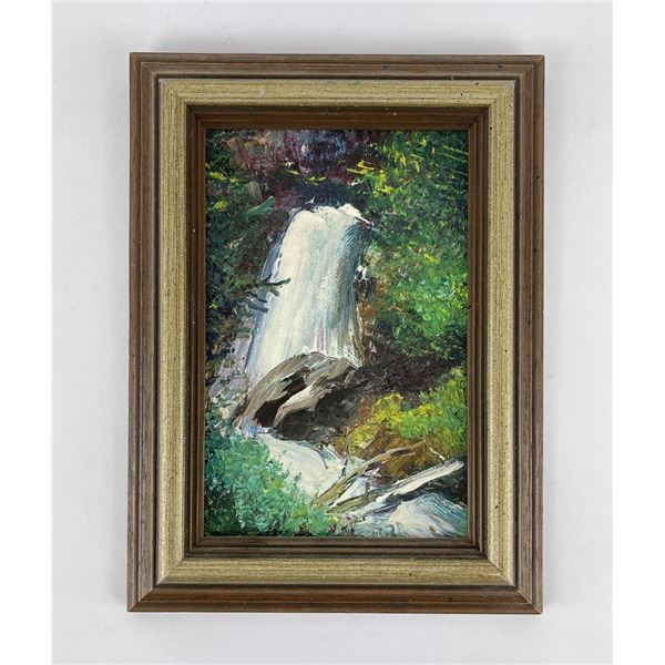 Glacier Park Montana Falls Oil on Board Painting