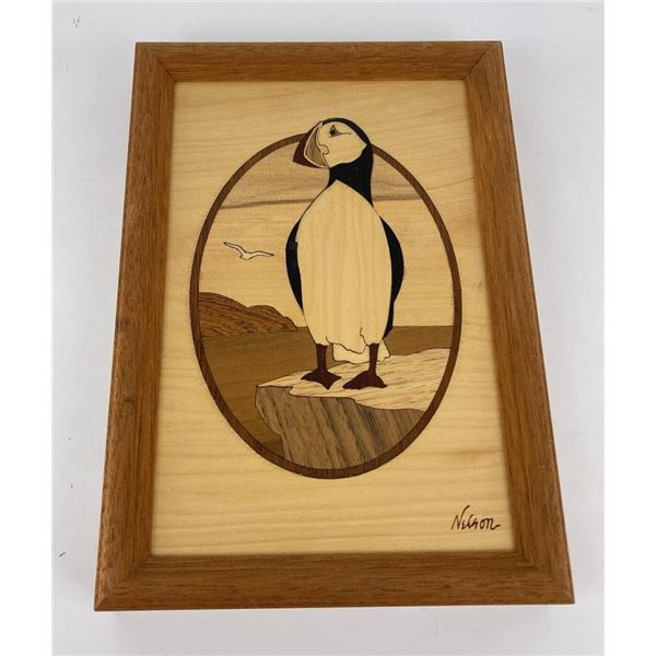 Hudson River Inlay Wood Puffin Plaque