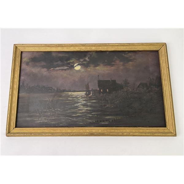 Antique Harbor at Night Oil on Board Painting