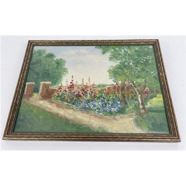 Antique Montana Impressionist Garden Painting