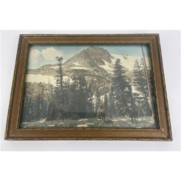 Antique Montana Hand Tinted Mountain Photo