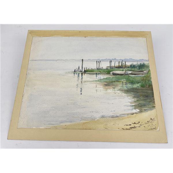 Antique Harbor Watercolor Painting