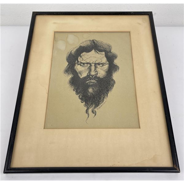 Pen and Ink Drawing Bearded Man Blackwell