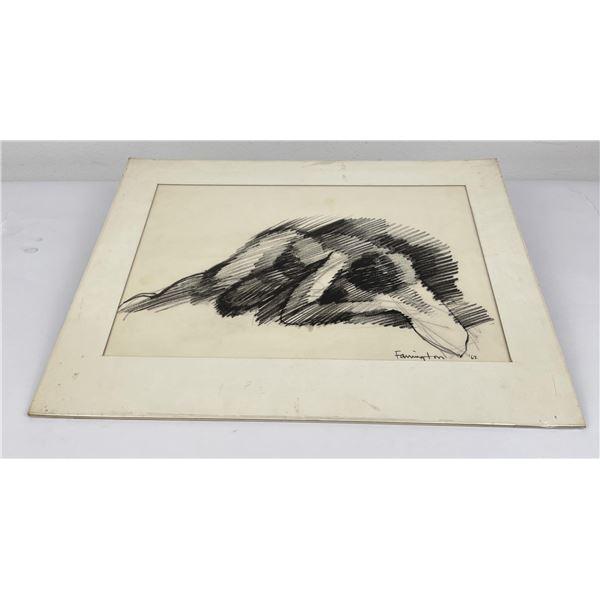Mid Century Will Farrington Pencil Drawing