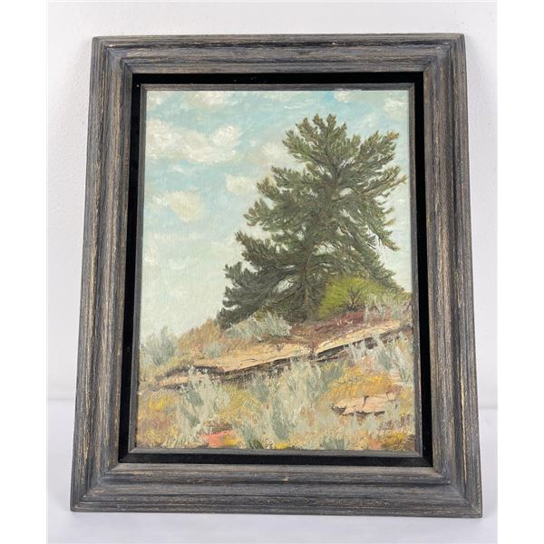 Montana Oil on Canvas Painting Lone Tree