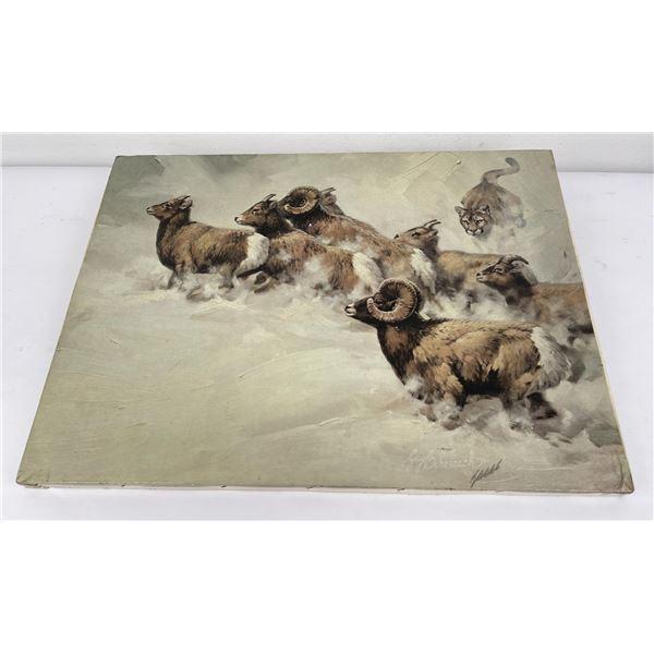 Guy Coheleach Print on Canvas Big Horn Sheep