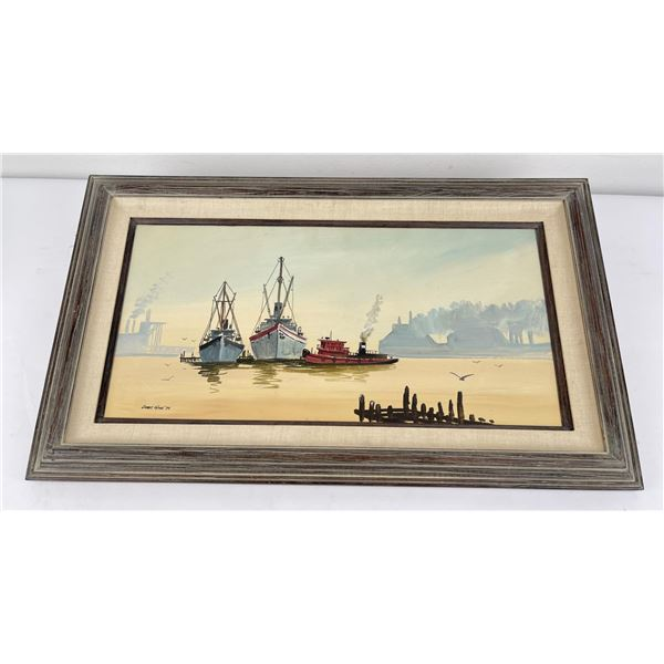 James Ware Oil on Canvas Painting Harbor