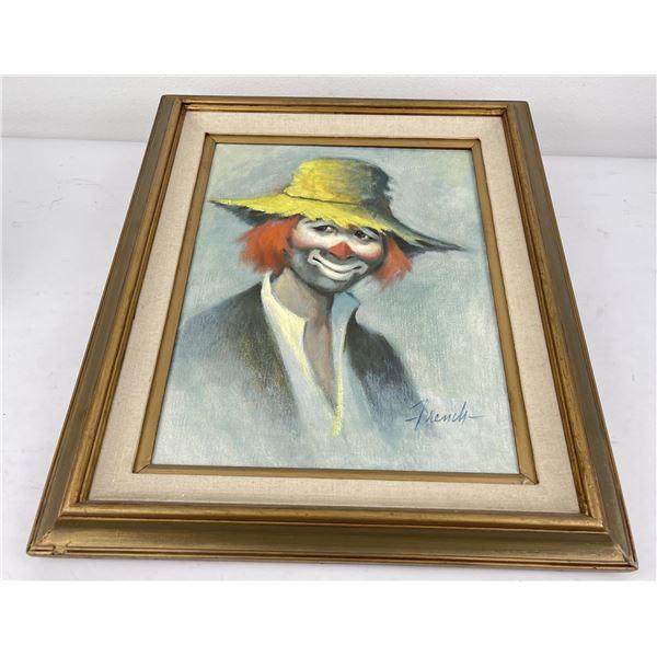 Mid Century Clown Oil on Canvas Painting