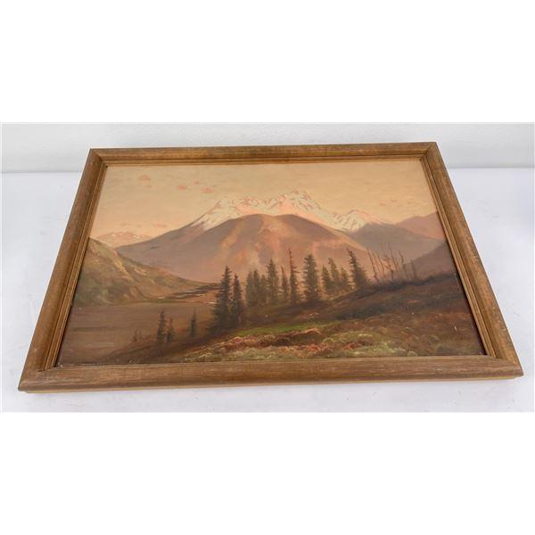 Mountain Range Oil on Canvas Painting