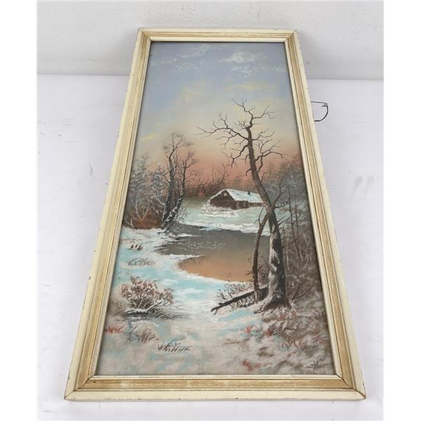 Campbell Oil on Board Painting Cabin in Winter