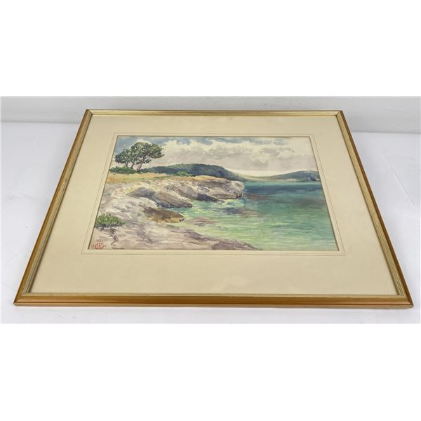 1932 California Costal Watercolor Painting