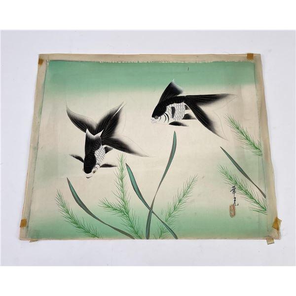 Chinese Koi Fish Painting on Silk