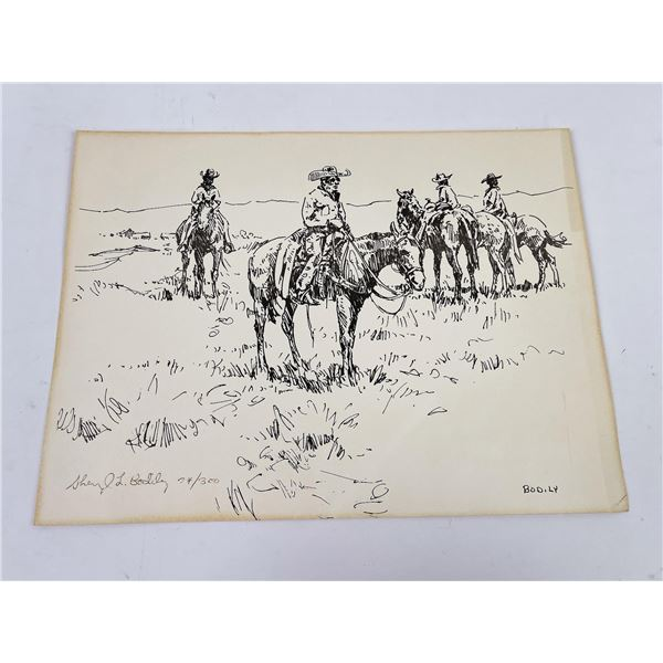 Sheryl Bodily Cowboy Signed Numbered Print Montana