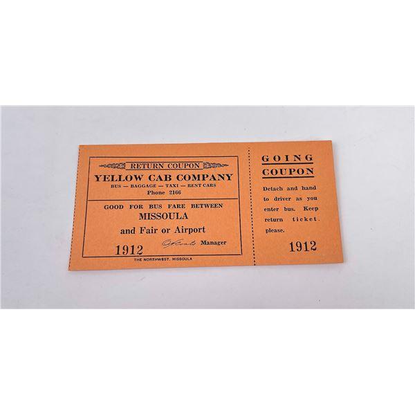 Missoula Montana Cab Company Ticket