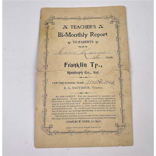 1902 1903 Randolph Indiana School Report Card