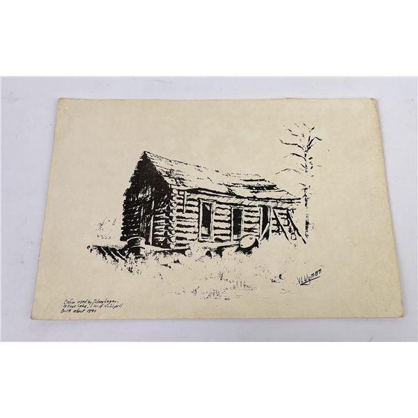 Kalispell Montana Cabin Ink Transfer Print