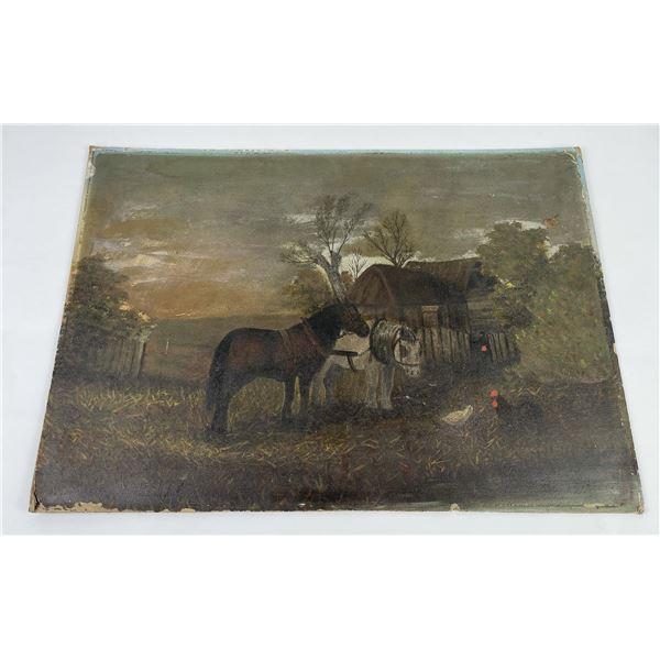 Antique American Itinerant Folk Art Painting