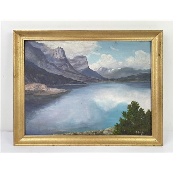 Glacier Park Montana Oil on Board Painting