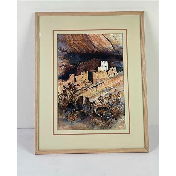 Southwest Pueblo Indian Watercolor Painting