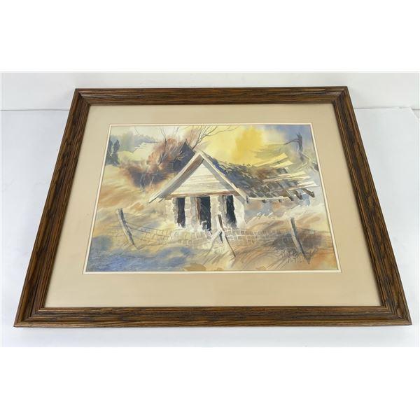 Montana Farm Watercolor Painting