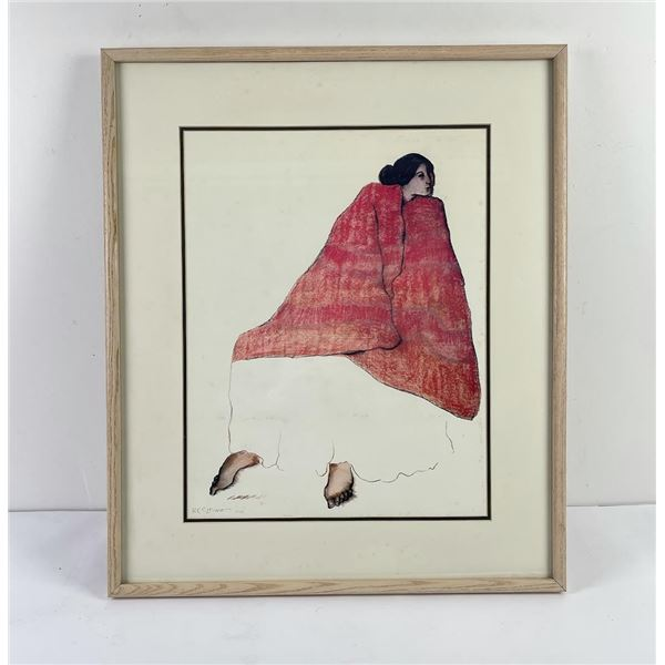 Native American Indian Signed Print