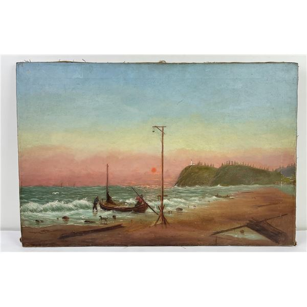 Antique Costal Oil on Canvas Painting
