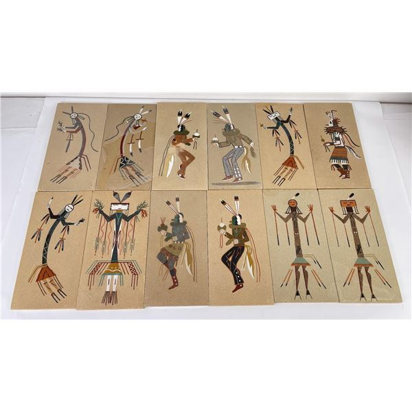 Lot of 12 Navajo Indian Sand Paintings