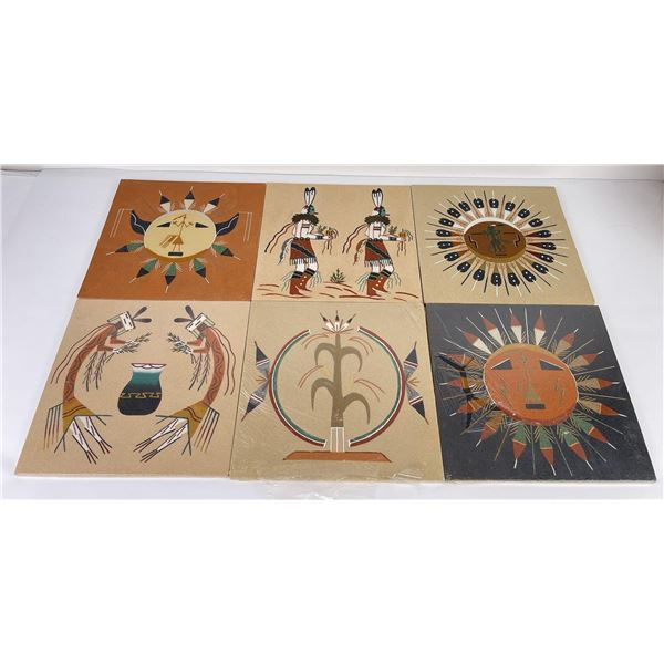 Lot of 6 Navajo Indian Sand Paintings