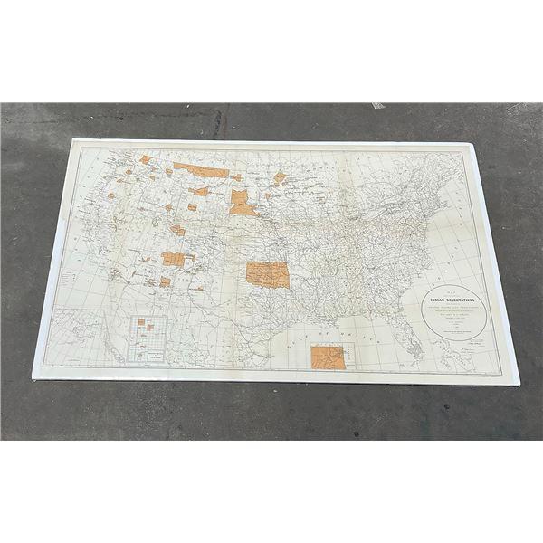 1887 Map of US Indian Reservations John Atkins