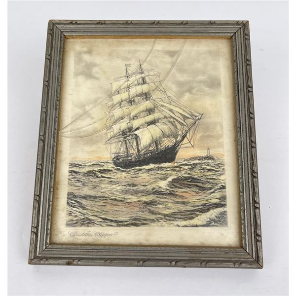 Hand Tinted Clipper Ship Engraving