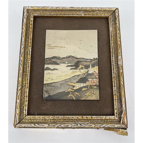 Antique Japanese Metal Engraving Mt Fuji
