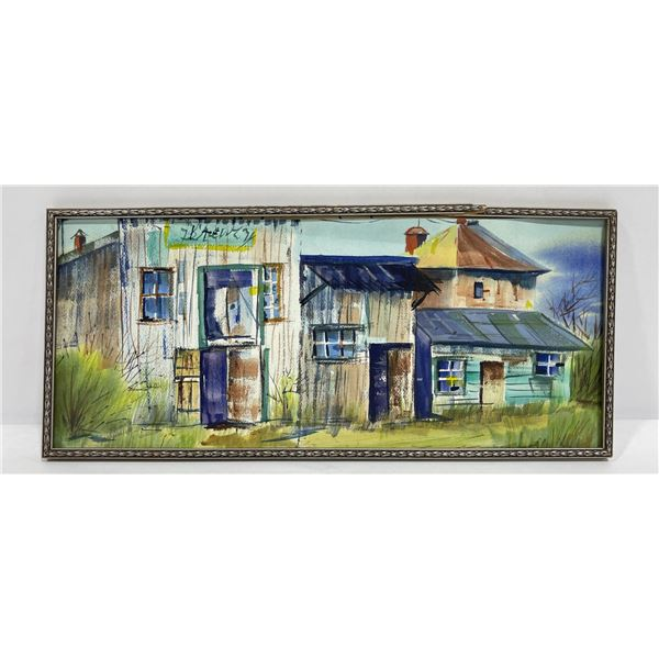 Montana Watercolor Town Painting