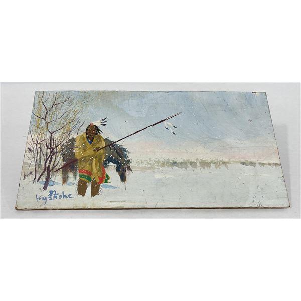 Montana Folk Art Indian Oil Painting on Board