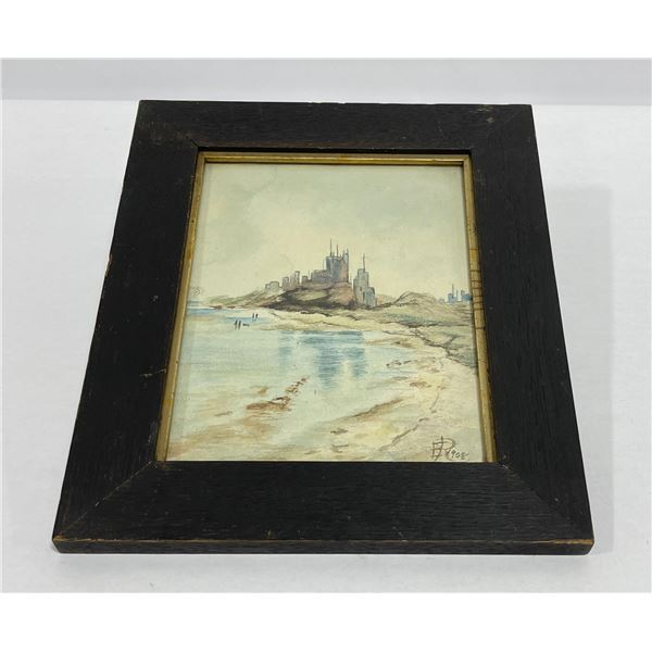 Antique Watercolor Beach Painting