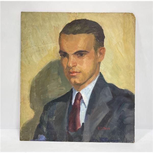 EG Moore Portrait Oil on Board Painting