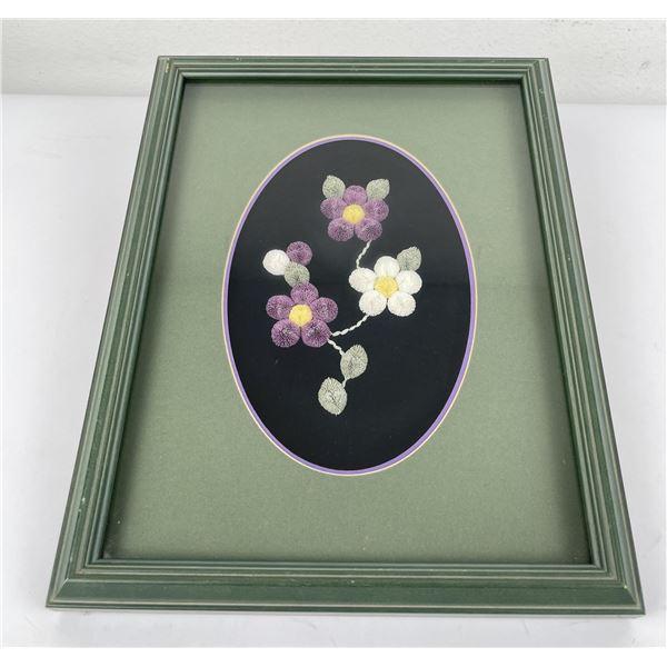 Embroidered Flowers American Folk Art