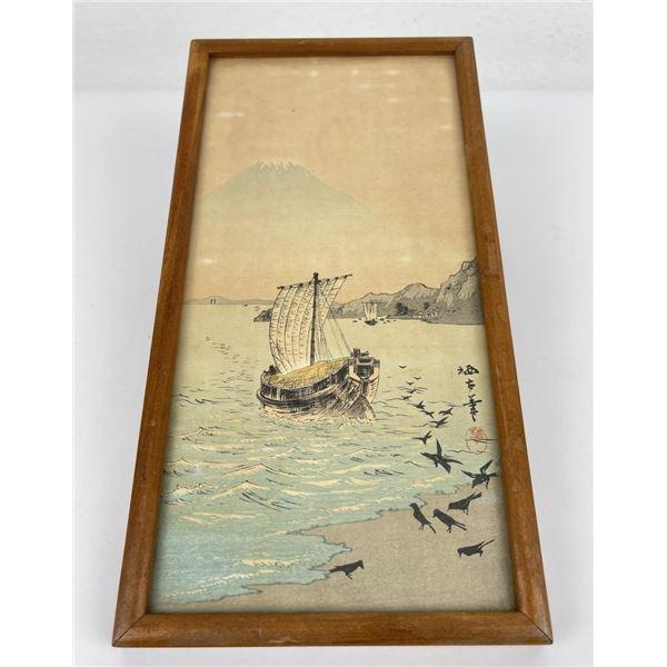 Antique Japanese Mt Fuji Boat Woodblock Print