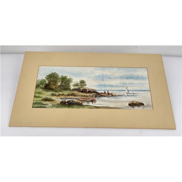 Antique Fishing Watercolor Painting