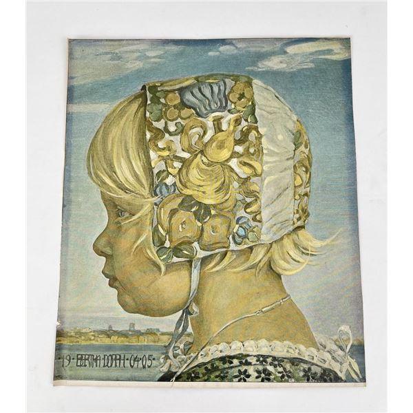 Antique Bertha Dorph Danish Girl Print