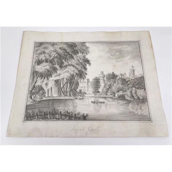 Antique Warwick Castle Drawing