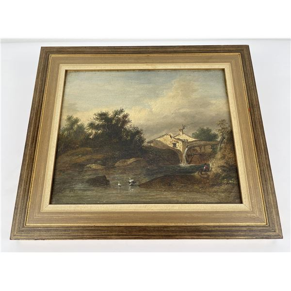 Antique Signed 1839 Oil on Canvas Painting