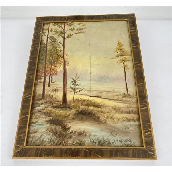 Antique Western Forest Oil on Board Painting
