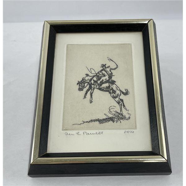 Ace Powell Engraving Cowboy Bucking Bronc