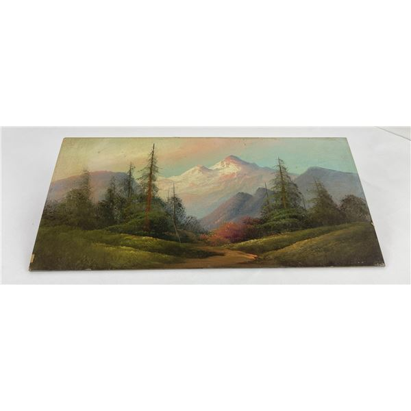 Antique Mt Rainier Tourist Plein Air Painting