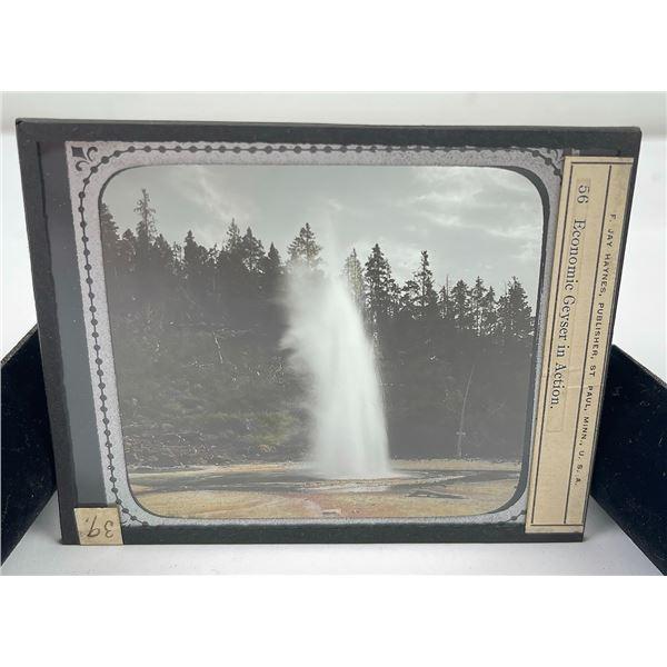 Geyser Yellowstone Park Magic Lantern Slide