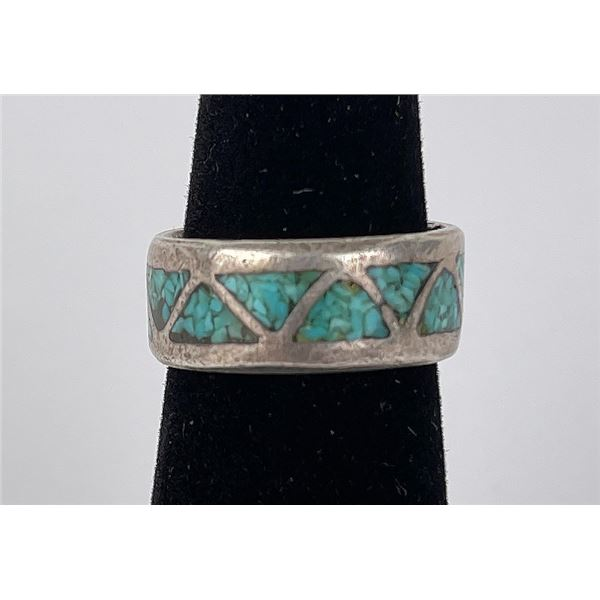 Zuni Inlaid Sterling Silver Turquoise Ring