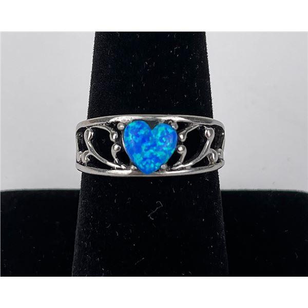 Sterling Silver Blue Opal Heart Ring