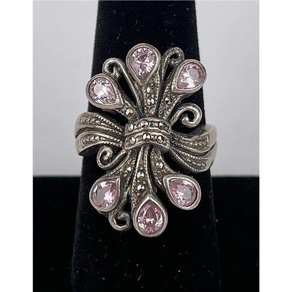 Sterling Silver Pink Gemstone Ring